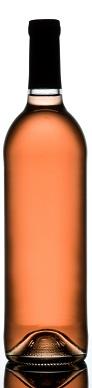 Rose wine bottle isolated on white.