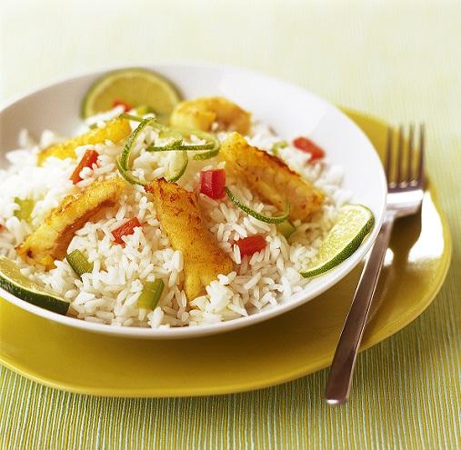 riz thaï cuisiné à la lotte, aux poivrons et au citron vert | le