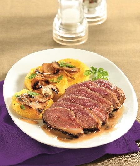 canard aux cepes et polenta