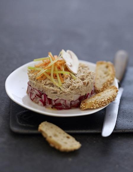 Tartare de rillettes aux petits legumes croquants