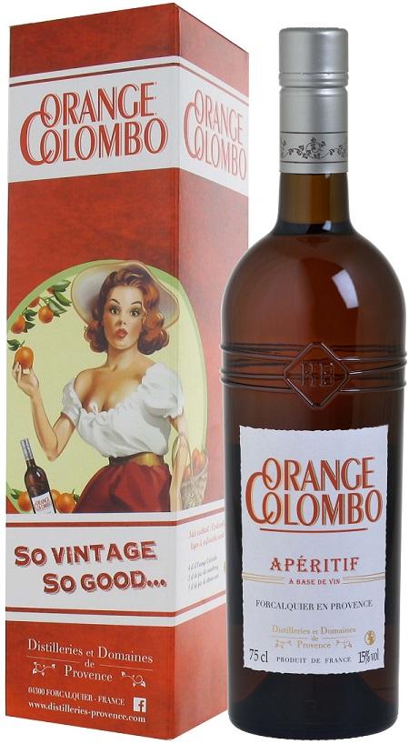 Orange Colombo 75cl + étui vintage fd transparen2t