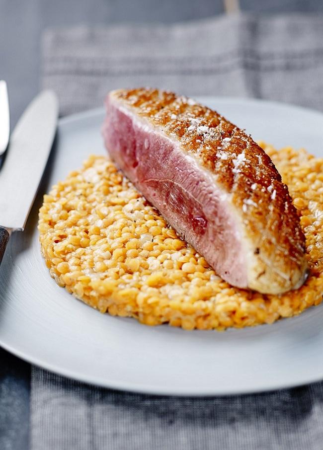 Magret de Canard lentilles corail en risotto blog
