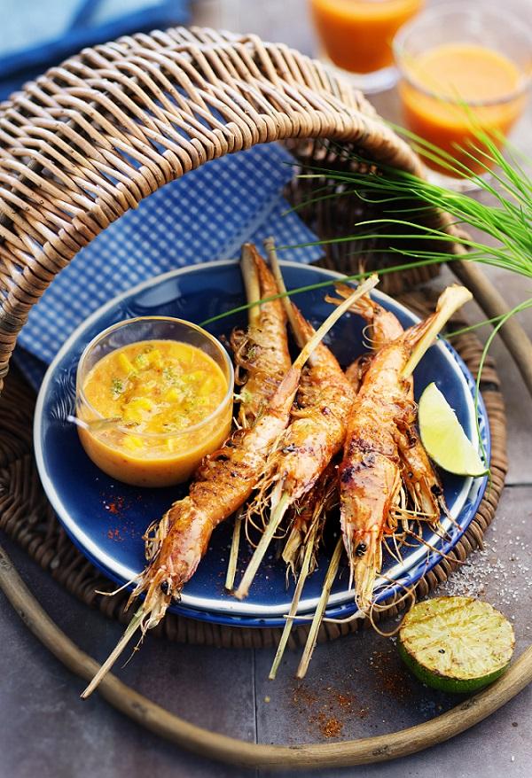 crevettes grillées citronnelle et crème mangue