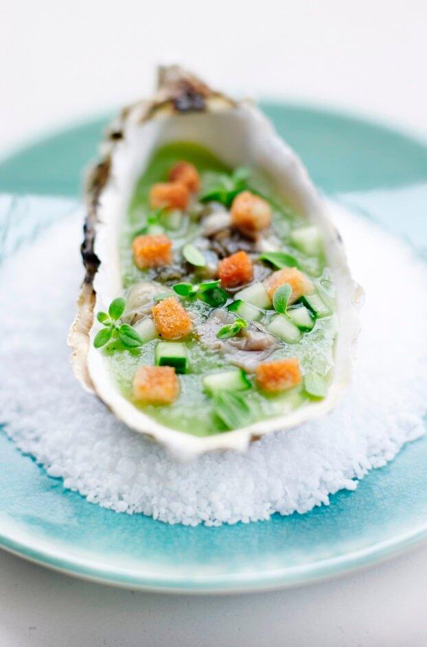 Concombre, marjolaine et huîtres grand pastis