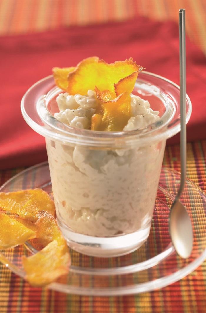 Riz au lait de coco et chips de mangue - Riz lait de coco ...