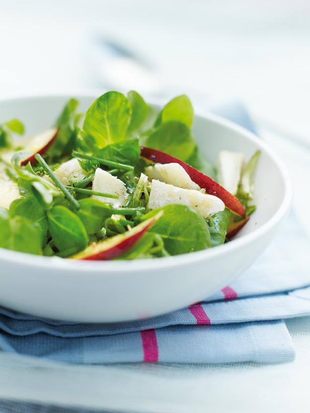 salade de mache nectarine et chevre sec le Grand Pastis