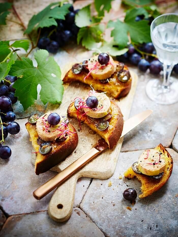 les crostini de foie gras au muscat du ventoux