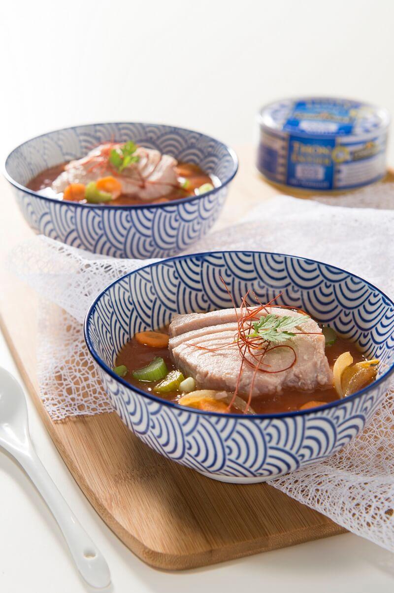 Minestrone revisité aux filets de thon et à la tomate