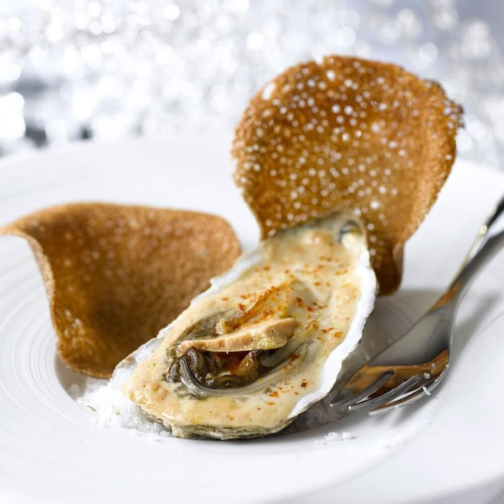 Huîtres chaudes au foie gras