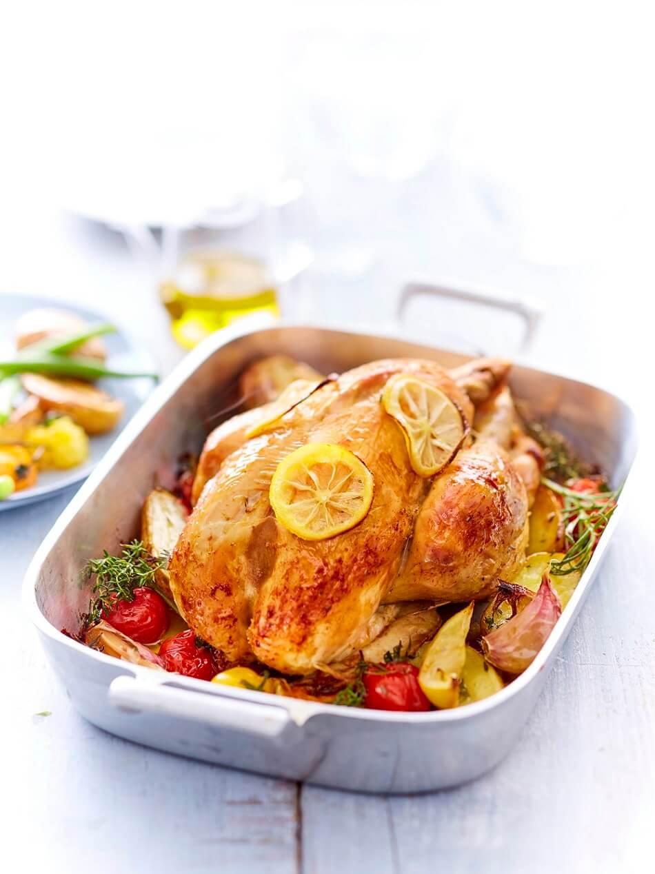 poulet fermier rôti