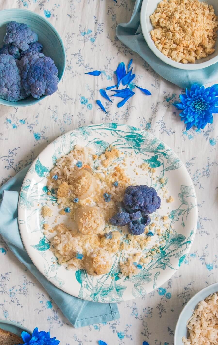 noix de saint jacques juste saisies riz et crumble de parmesan. Black Bedroom Furniture Sets. Home Design Ideas
