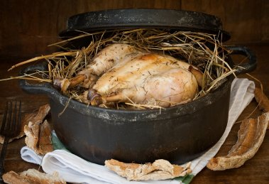 poulet au foin